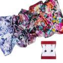 GIFT: Laura Biagiotti Shawl little silk flowers corai indigo and silver earrings amethyst My Way