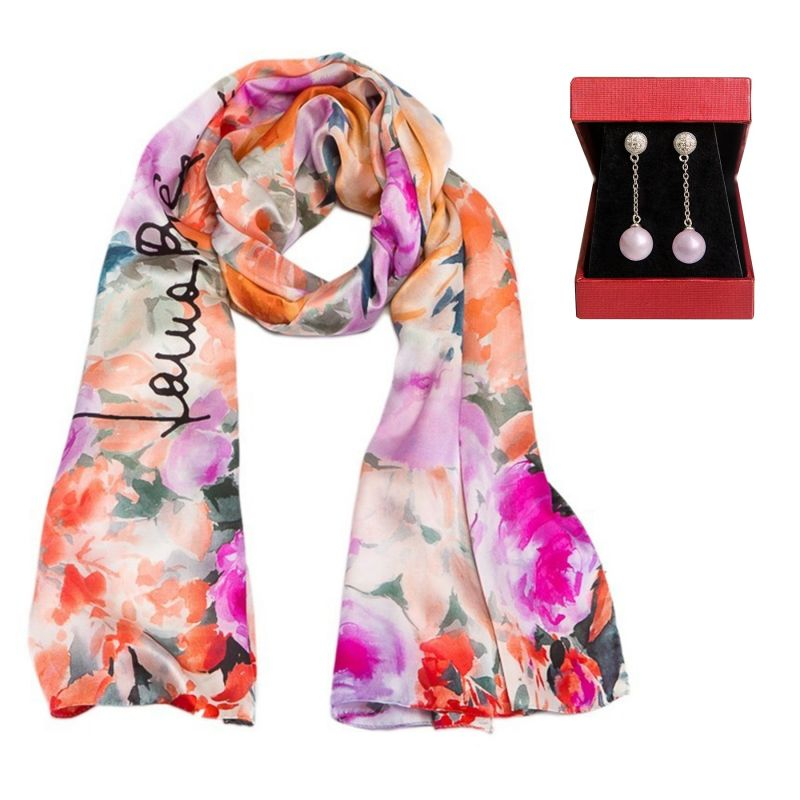 Laura Biagiotti roses coral silk shawl and silver earrings rose quartz My Way