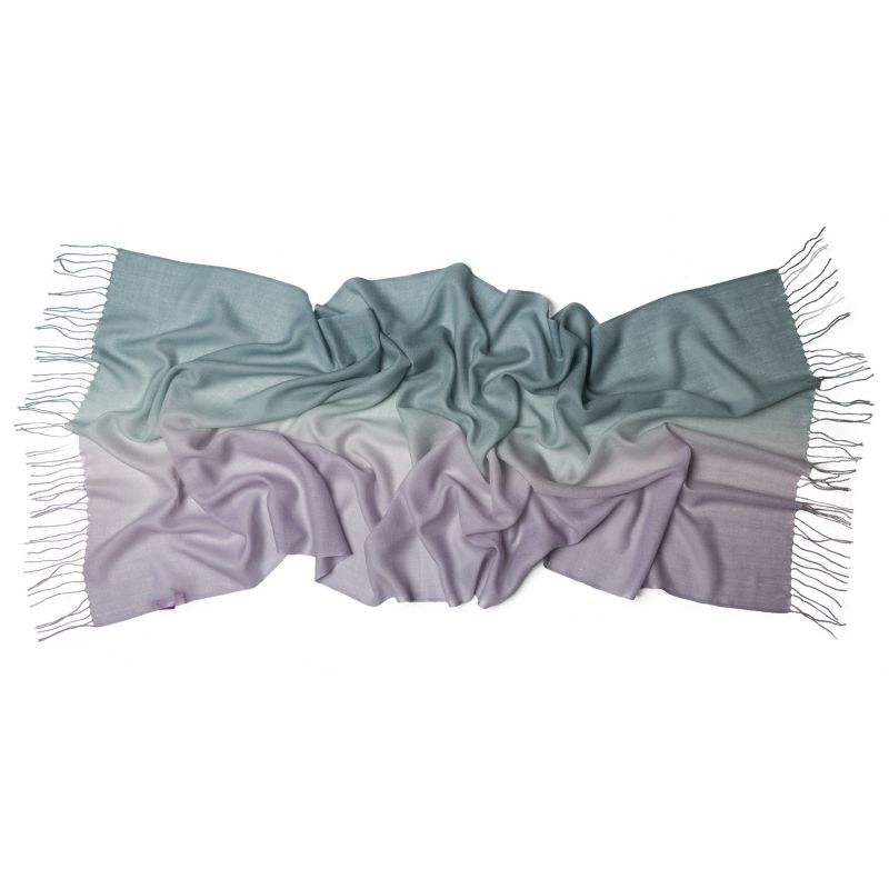 Wool scarf Mila Schon 2 tones mauve-green pale