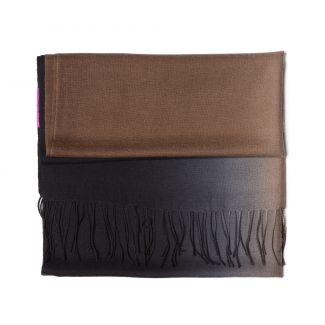 Wool scarf Mila Schon 2 tones  black-brown