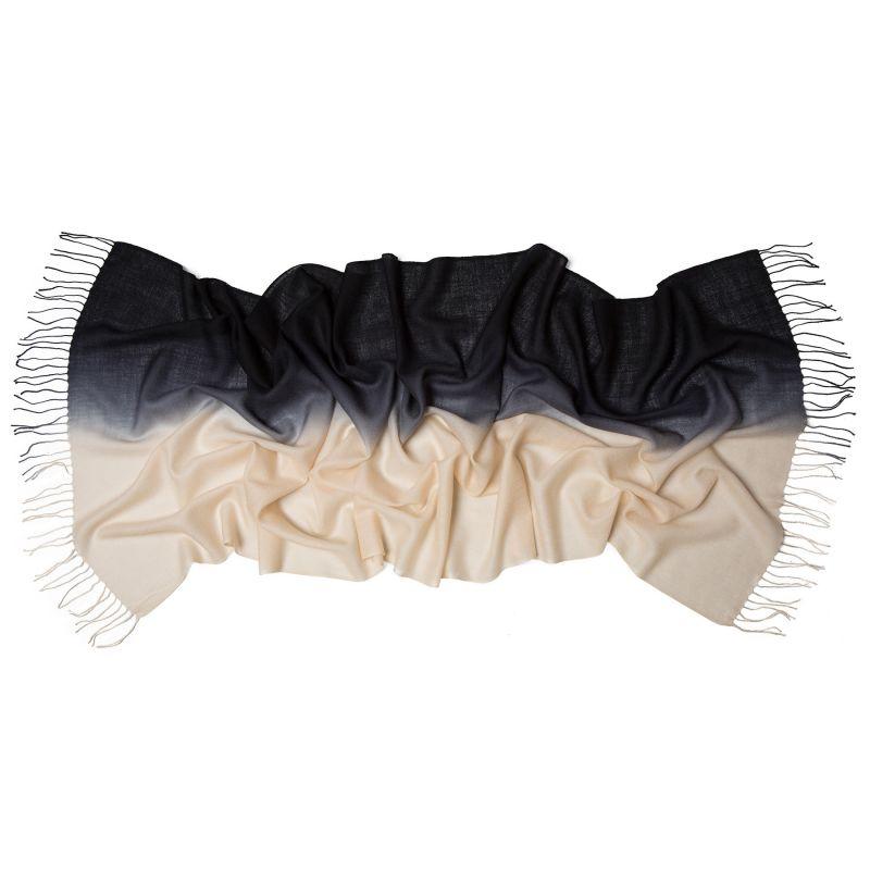 Wool scarf Mila Schon 2 tones black cream
