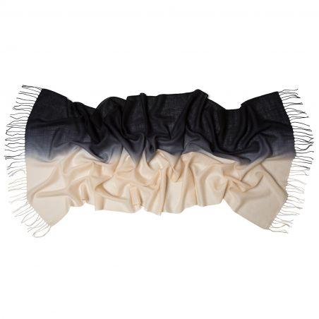 Esarfa lana si casmir 2 tones Mila Schon black cream