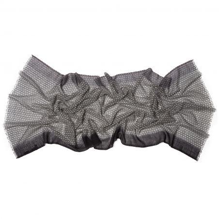 Wool scarf Mila Schon unisex black grey pattern