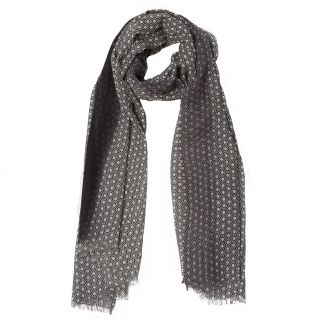 Wool scarf Mila Schon unisex black grey pattern