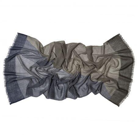 Wool scarf Mila Schon unisex olive navy pattern