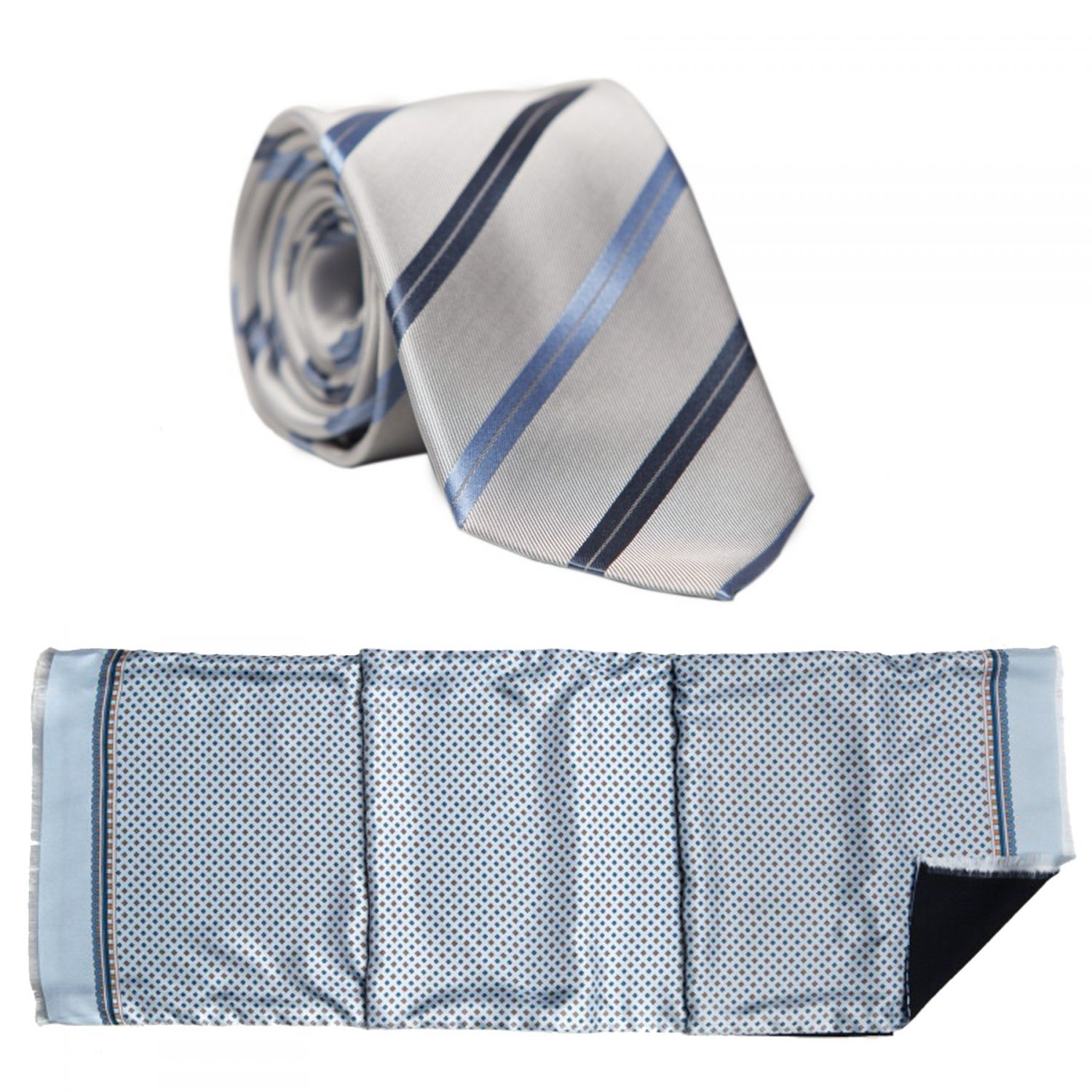 Gift: L Biagiotti silk scarf and neck-tie smart print