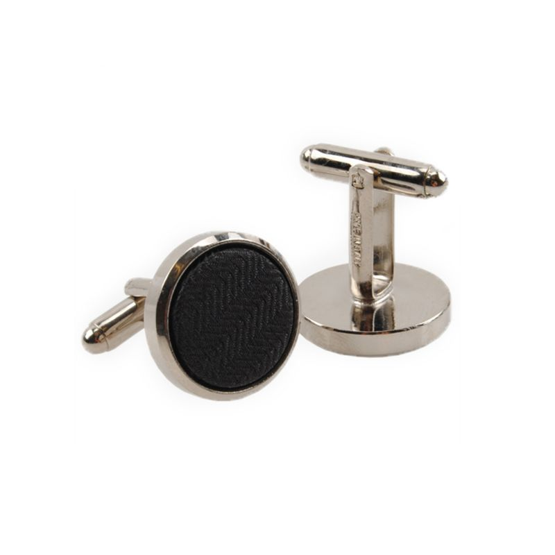 Silk and stainless steel black men cufflinks