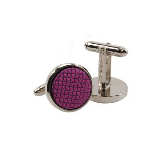 Silk and stainless steel violet men cufflinks
