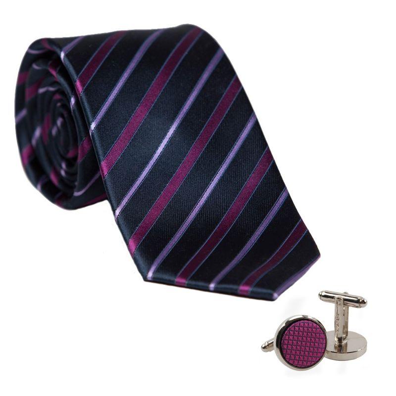 Cadou: Cravata matase L. Biagiotti dungi subtiri magenta Executive si butoni inox si matase violet
