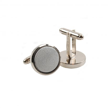 Silk and stainless steel grey men cufflinks