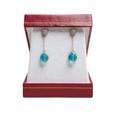 Swarovski Indicolite Mini Drop Silver Earrings