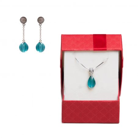 Gift: Silver Earrings and Pendant Swarovski Indicolite Mini Drop