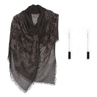 Cadou: Sal cu stras flututi negru si cercei argint onix