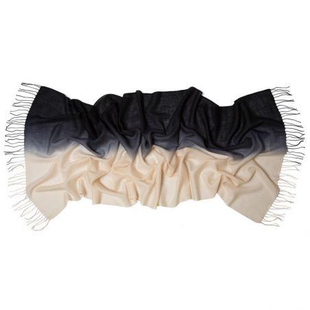 Esarfa lana si casmir black cream si bratara perle de cultura si hematit