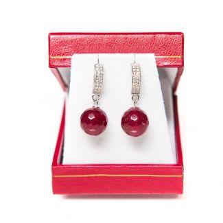 Gift: Wool scarf dark red and agate silver cognac earrings