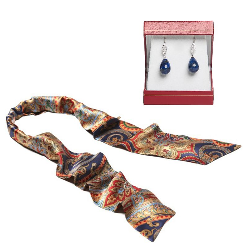 Gift: Silk scarf My privilege and silver lapis sharp drops earrings