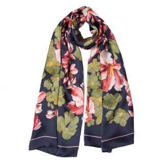 Silk shawl Laura Biagiotti big flowers navy