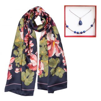 Gift: Silk scarf big flowers navy and lapis lazuli silver jewelry set
