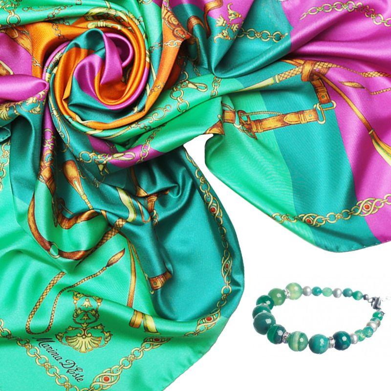 Cadou: Esarfa matase Lovely Touch Emerald si bratara agat pastel dantela verde
