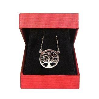 Cadou: Esarfa matase Jewellery Royal Purple si pandantiv argint copacul vietii