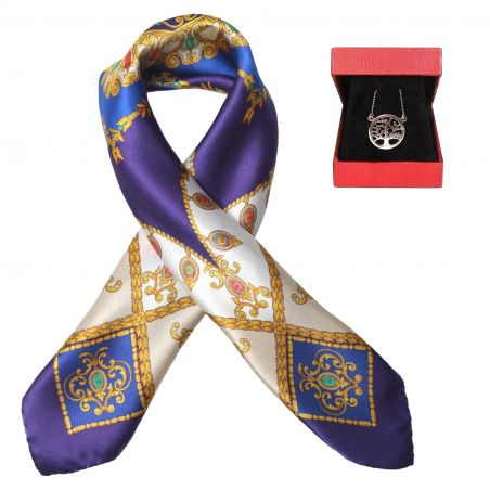 Gift: Silk scarf Jewellery Royal Purple and silver pendant tree of life