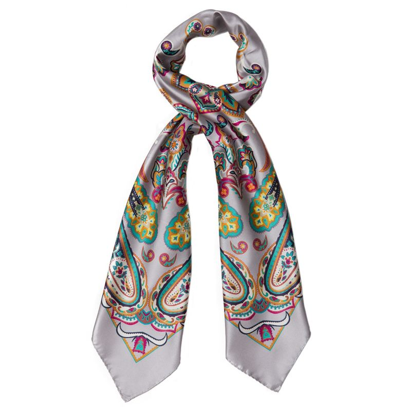 Endless Paisley Grey Silk Scarf