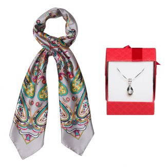 Gift: Silk scarf Endless Paisley Grey and silver pendant Swarovski