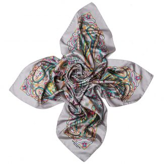 Gift: Silk scarf Endless Paisley Grey and silver pendant Swarovski