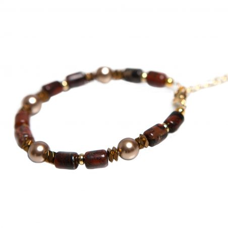 Egyptian Jasper tubes, hematite,  Swarovski beads, bracelet