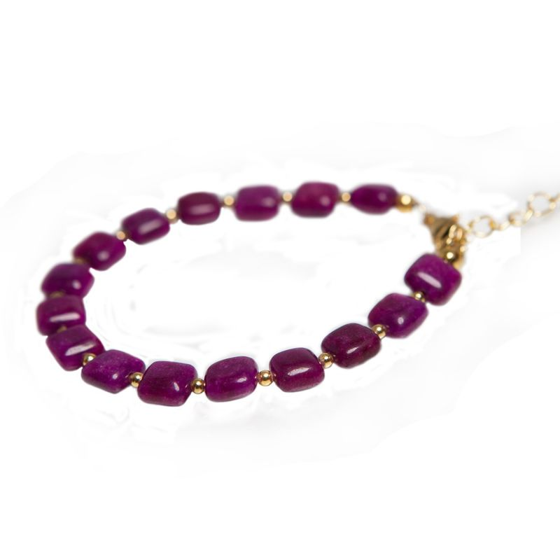 Purple square jade bracelet