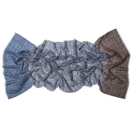 Wool scarf Mila Schon blue circles