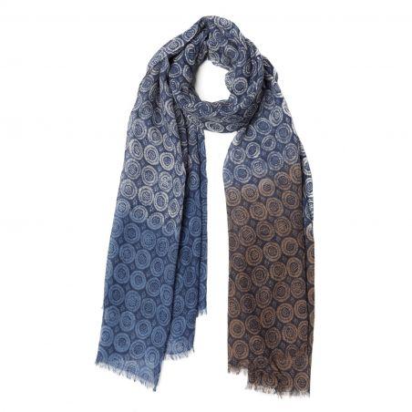 Wool scarf Mila Schon unisex green navy pattern