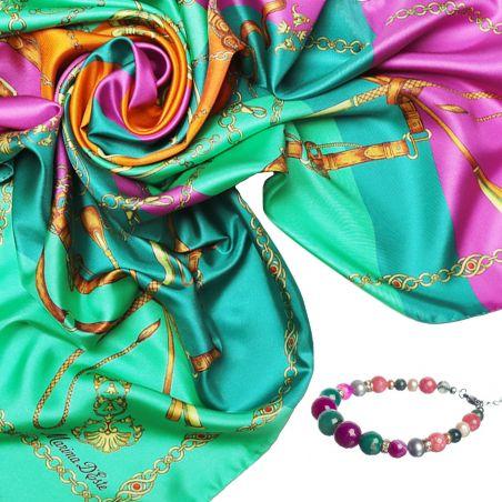 Cadou: Esarfa matase Lovely Touch Emerald si bratara agate roz şi verzi