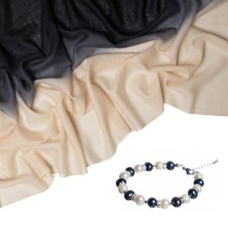 Wool and cashmere black cream and pearls and hematite luxury bracelet