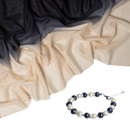 Gift: Wool and cashmere black cream and Black and White Pearls Luxrury Bracelet