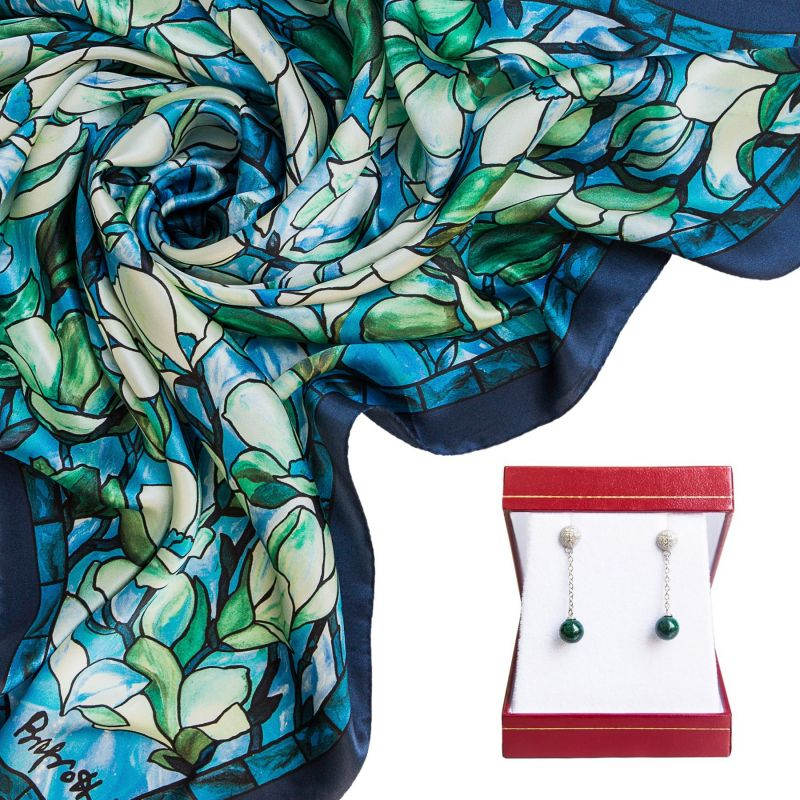 Gift: Volare Turquoise Silk Scarf and Silver earrings malachite My Way