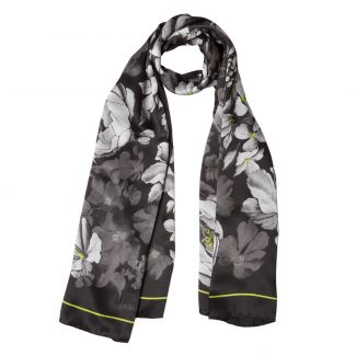 Silk shawl Laura Biagiotti big flowers black
