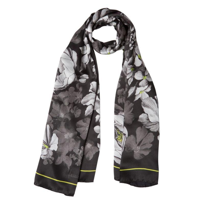 Silk shawl Laura Biagiotti big flowers black