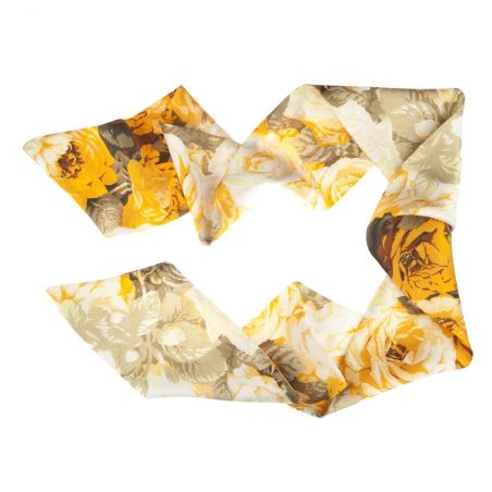 Eşarfă mătase naturală buchet trandafiri galbeni