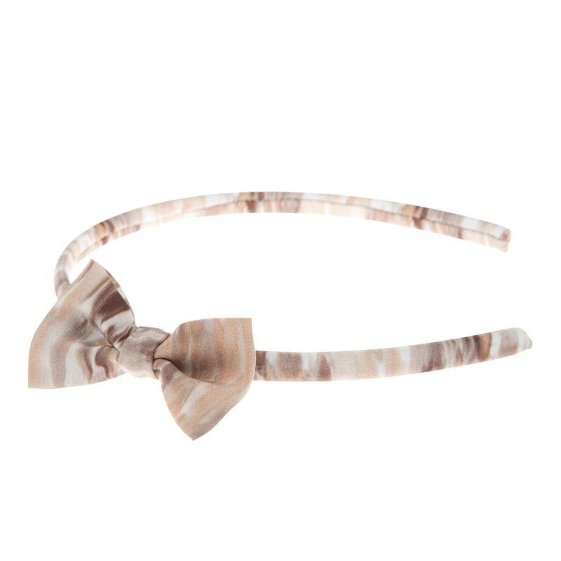 Headband cu fundiţă Ungaro bej imprimeu piele de şarpe