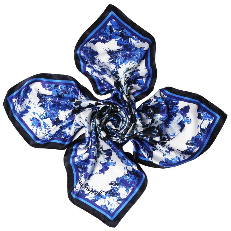 Radiant blue flowers Silk scarf