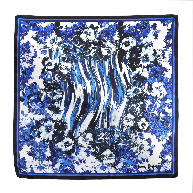 Radiant blue flowers Silk scarf