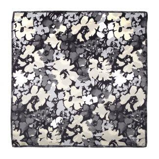 Jardin de contrast black Silk scarf