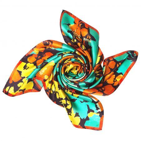 Jardin de contrast turcoise Silk scarf