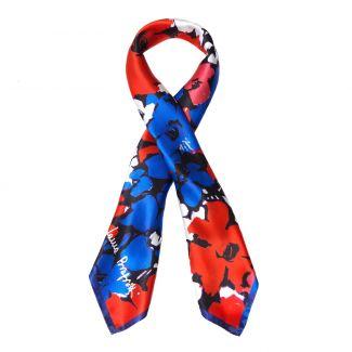 Jardin de contrast red Silk scarf