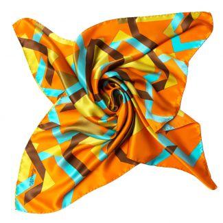 Esarfa matase Lost in geometry orange