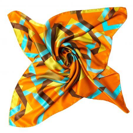 Lost in geometry orange Silk scarf