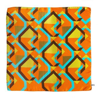 Lost in geometry orange Silk scarf
