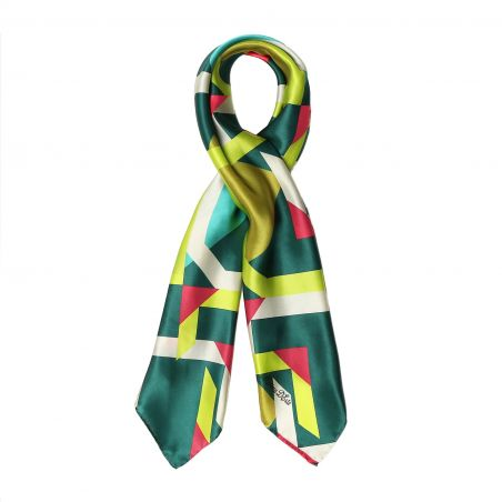 Lost in geometry green Silk scarf