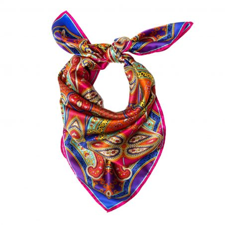 Inside beauty paisley fucsia silk scarf